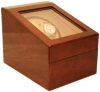 2+3 Burlwood Dual Watch Winder Box AC/DC & Battery Operated